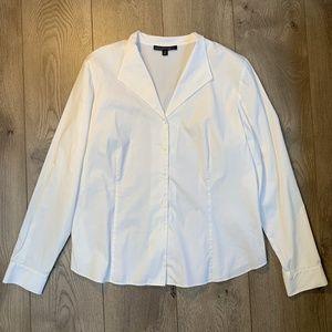 LAFAYETTE 148 White Stretch Cotton Shirt Size 16